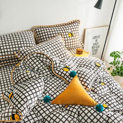 G+家纺 速暖绒印花四件套 1.5m(5英尺)床 小蜜蜂