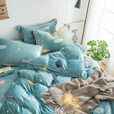 G+家纺 速暖绒印花四件套 1.8m(6英尺)床 小鱼儿