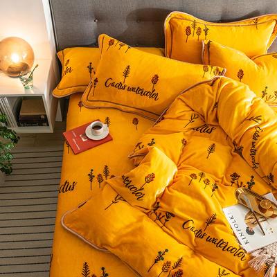 G+家纺 速暖绒印花四件套 1.8m(6英尺)床 媱草
