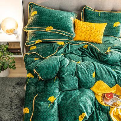 G+家纺 速暖绒印花四件套 1.5m(5英尺)床 银杏