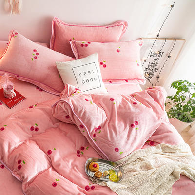 G+家纺 速暖绒印花四件套 1.5m(5英尺)床 朱樱