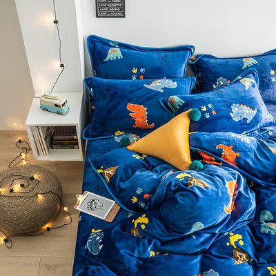 G+家纺 速暖绒印花四件套 1.8m(6英尺)床 侏罗纪