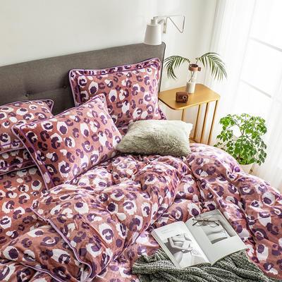 G+家纺 速暖绒印花四件套 1.8m(6英尺)床 紫萱