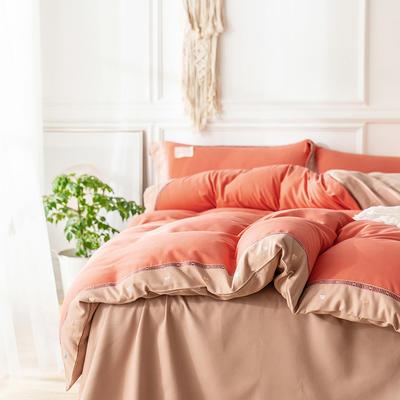 G+家纺 加热拉绒双拼刺绣四件套惊澜系列 1.5m(5英尺)床 惊澜 蜜橙