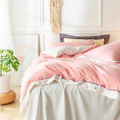 G+家纺 加热拉绒双拼刺绣四件套惊澜系列 1.5m(5英尺)床 惊澜 蜜桃粉