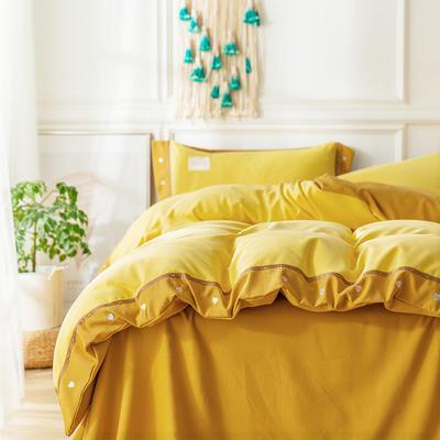 G+家纺 加热拉绒双拼刺绣四件套惊澜系列 1.5m(5英尺)床 惊澜 柠檬黄