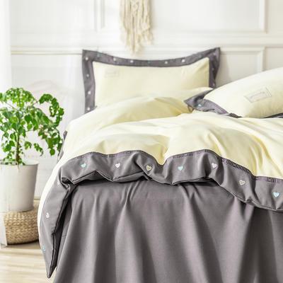 G+家纺 加热拉绒双拼刺绣四件套惊澜系列 1.5m(5英尺)床 惊澜 浅黄