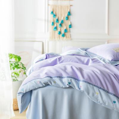 G+家纺 加热拉绒双拼刺绣四件套惊澜系列 1.5m(5英尺)床 惊澜 浅紫