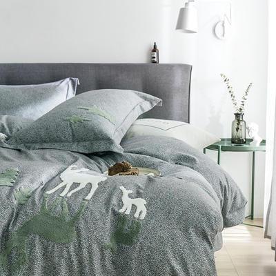 G+家纺 2019秋冬保暖毛巾绣优贝尔系列四件套 1.5m(5英尺)床 斑比