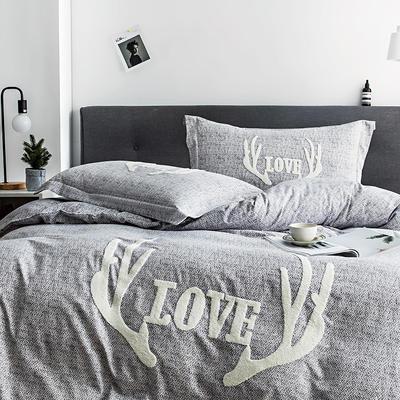 G+家纺 2019秋冬保暖毛巾绣优贝尔系列四件套 1.5m(5英尺)床 鹿角巷 灰