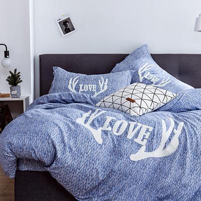 G+家纺 2019秋冬保暖毛巾绣优贝尔系列四件套 1.5m(5英尺)床 鹿角巷 兰