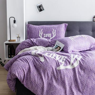 G+家纺 2019秋冬保暖毛巾绣优贝尔系列四件套 1.5m(5英尺)床 鹿角巷 紫