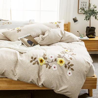 G+家纺 2019秋冬保暖毛巾绣优贝尔系列四件套 1.5m(5英尺)床 蔓枝