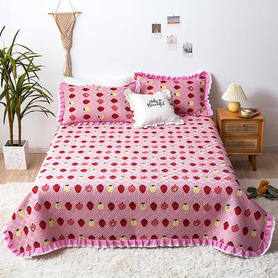 2020新款- 小清新全棉床盖款 单床盖200cm*230cm 草莓达人-粉