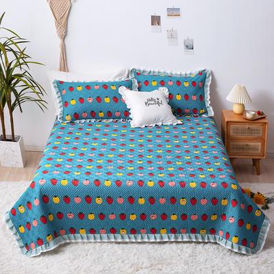 2020新款- 小清新全棉床盖款 单床盖200cm*230cm 草莓达人-兰
