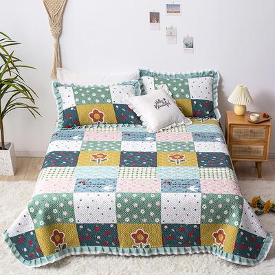 2021新款- 小清新全棉床盖款 单床盖200cm*230cm 方格涂鸦