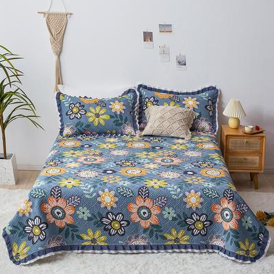 2021新款- 小清新全棉床盖款 单床盖200cm*230cm 羽裳—兰