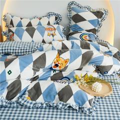 2020新款-韩版花边款牛奶绒四件套 1.2m床单款三件套床单直角 彩虹格