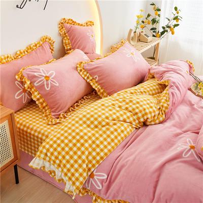 2020新款-韩版花边款牛奶绒四件套 1.5m床笠款四件套 粉色梦境