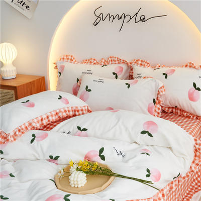 2020新款-韩版花边款牛奶绒四件套 2.0m床单款四件套 蜜桃时光