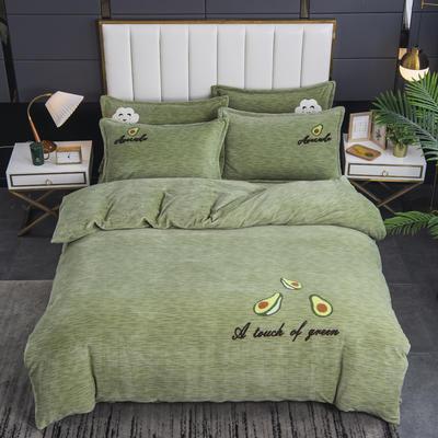 2020新款-毛巾绣230克牛奶绒四件套 1.8m床单款四件套 艾草绿-牛油果
