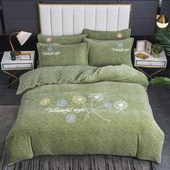 2020新款-毛巾绣230克牛奶绒四件套 1.5m床单款四件套 艾草绿-蒲公英