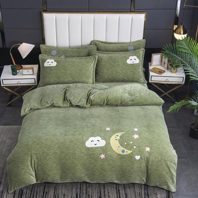 2020新款-毛巾绣230克牛奶绒四件套 1.8m床单款四件套 艾草绿-月夜