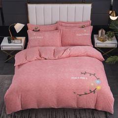 2020新款-毛巾绣230克牛奶绒四件套 1.8m床单款四件套 豆沙-幸福花
