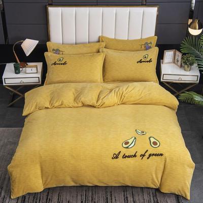 2020新款-毛巾绣230克牛奶绒四件套 1.5m床单款四件套 姜黄-牛油果