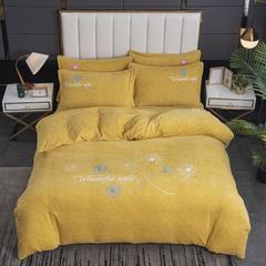 2020新款-毛巾绣230克牛奶绒四件套 1.8m床单款四件套 姜黄-蒲公英