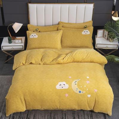 2020新款-毛巾绣230克牛奶绒四件套 1.5m床单款四件套 姜黄-月夜