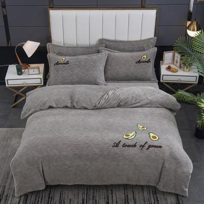 2020新款-毛巾绣230克牛奶绒四件套 1.5m床单款四件套 气质灰-牛油果