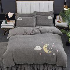 2020新款-毛巾绣230克牛奶绒四件套 1.5m床单款四件套 气质灰-月夜