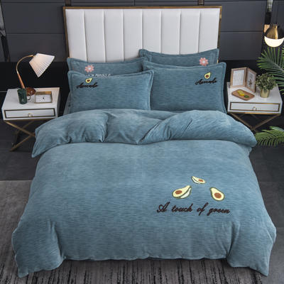 2020新款-毛巾绣230克牛奶绒四件套 1.8m床单款四件套 浅石蓝-牛油果
