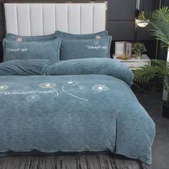 2020新款-毛巾绣230克牛奶绒四件套 1.5m床单款四件套 浅石蓝-蒲公英