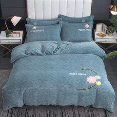 2020新款-毛巾绣230克牛奶绒四件套 1.8m床单款四件套 浅石蓝-幸福花