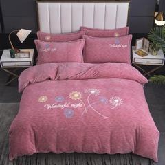 2020新款-毛巾绣230克牛奶绒四件套 1.5m床单款四件套 胭粉-蒲公英