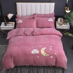 2020新款-毛巾绣230克牛奶绒四件套 1.8m床单款四件套 胭粉-月夜