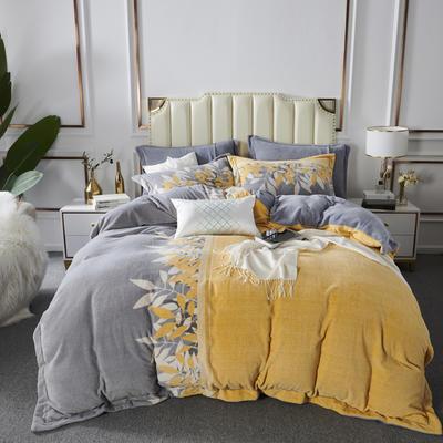 2020新款-牛奶棉绒四件套 1.5m床单款四件套 风华流沙-明黄