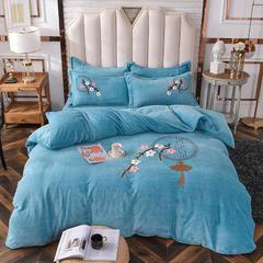 2020新款-中式牛奶绒毛巾绣四件套 1.8m床单款四件套 中式风情-蓝