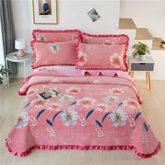 2020新款-牛奶绒床盖 单床盖200*230cm 安娜-粉