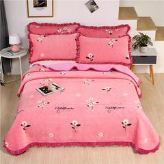 2020新款-牛奶绒床盖 单床盖200*230cm 小雏菊-粉