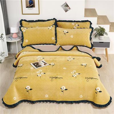 2020新款-牛奶绒床盖 单床盖200*230cm 小雏菊-黄