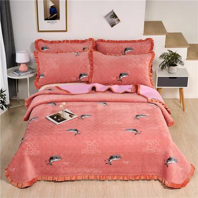 2020新款-牛奶绒床盖 单床盖200*230cm 小海豚