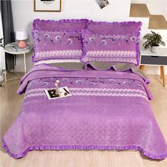 2020新款-牛奶绒床盖 单床盖200*230cm 紫露凝香