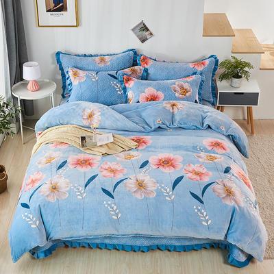 2020新款-牛奶绒床盖四件套 单床盖200*230cm 安娜-兰