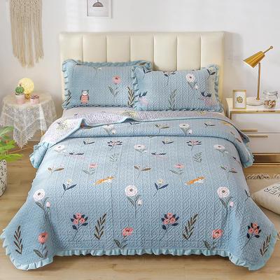 2020新款-牛奶绒床盖四件套 单床盖200*230cm 草长莺飞