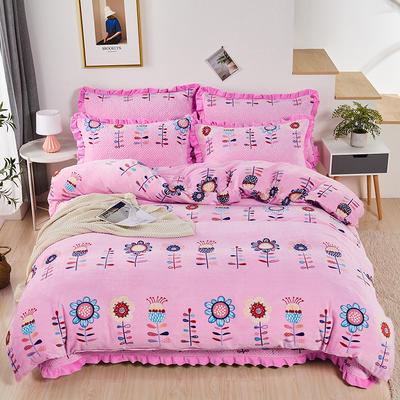 2020新款-牛奶绒床盖四件套 单床盖200*230cm 向阳花开-粉