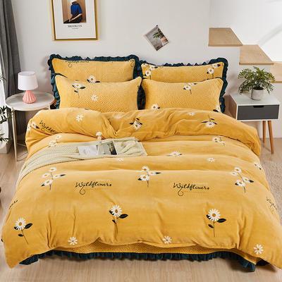 2020新款-牛奶绒床盖四件套 单床盖200*230cm 小雏菊-黄