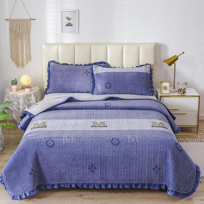 2020新款-牛奶绒床盖 单床盖200*230cm 巴洛克-蓝
